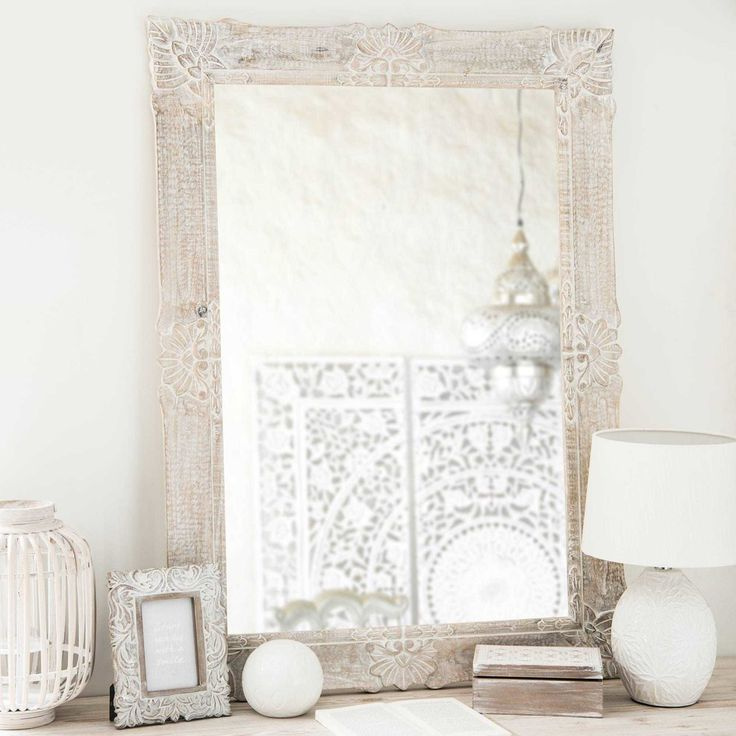 Miroir en manguier blanchi 79x109cm   Maisons du Monde