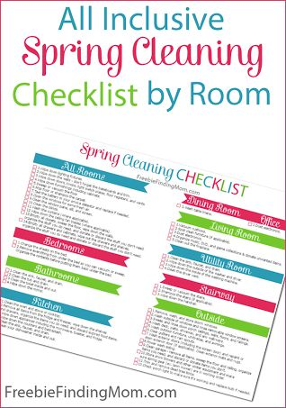 Free Printable All Inclusive Spring Cleaning Checklist by Room - Download and print this helpful checklist to ensure nothing is overlooked.