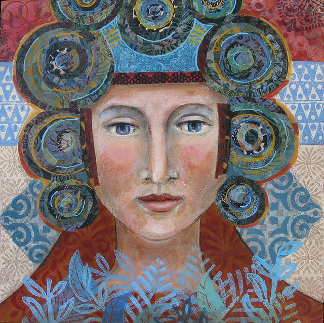 """Botanical Woman 3  Mixed Media collage on board.    Acrylics, hand-carved stamps , commercial stamps, collage with hand-printed and colored papers.  10"""" x 10"""" by Franciose Barnes"""