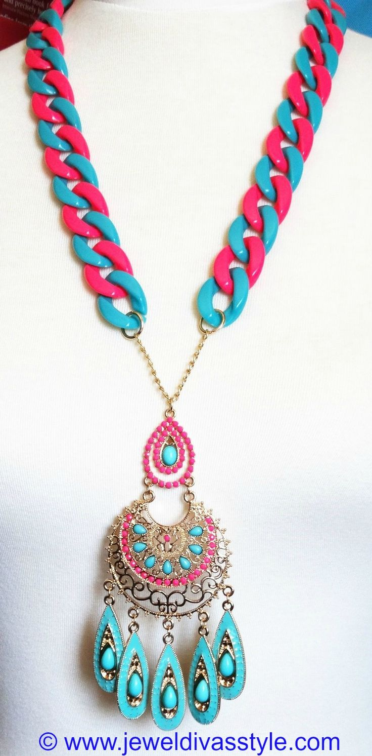 JDS - JEWEL DIVAS BLUE & PINK TRIBAL CHAIN NECKLACE - http://jeweldivasstyle.com/my-personal-collection-the-fantastic-blue-clothes-and-jewels-i-bought-over-the-holidays/