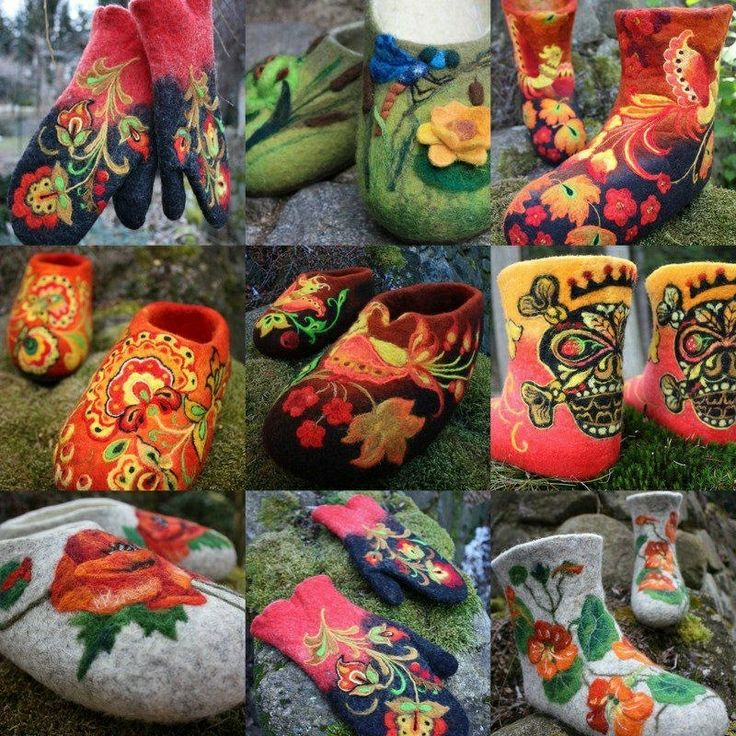 beautifully felted mittens and slippers