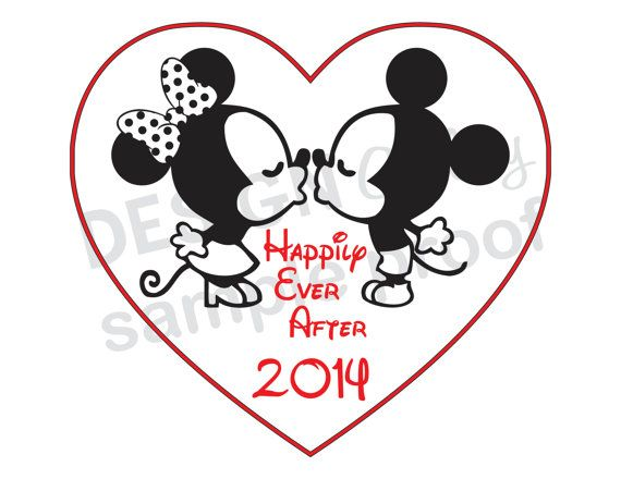 "Kissing Mickey Mouse & Minnie Mouse ""Happily Ever After 2014"" DIY Printable Iron On t shirt ..."
