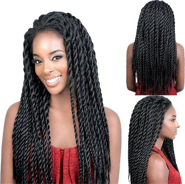 Long Synthetic Lace Front Wig African American Crochet Braided Wigs For Women (Color: Black)