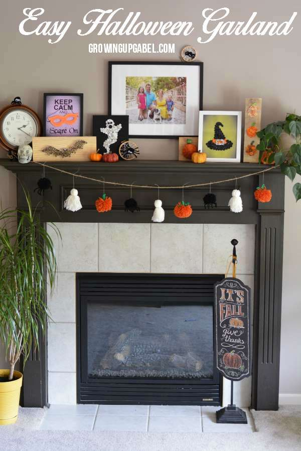 Decorate your mantle or home for Halloween with this easy Halloween garland! Made from yarn and few other simple craft supplies, this fun decoration is perfect for kids