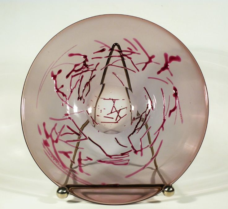 Lubomir Blecha, decorative glass disk, 1963, D: 31,0 cm, Pattern Id: 6328, UUR Prague, glassworks Skrdlovice, Czechoslovakia