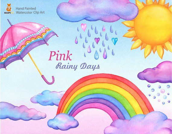 Watercolor Weather Clipart Clouds Rainbow Sun Umbrella Etsy Clip Art Watercolor Clouds Weather Clipart