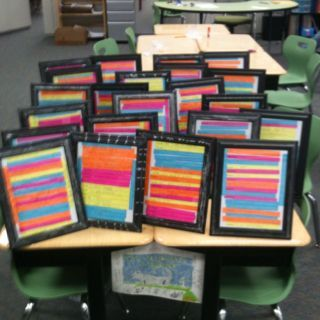 Write a nice sentence about everyone in the class. Then each student had 20 nice things written about him or her. We put those in a frame. This activity was great because some of the students in my class don't hear about how great they are everyday at home. Now they have a frame that will stay together rather than just some paper stapled.   The kids loved hearing about how great they are from their classmates :)  This would be great when learning Spanish adjectives.