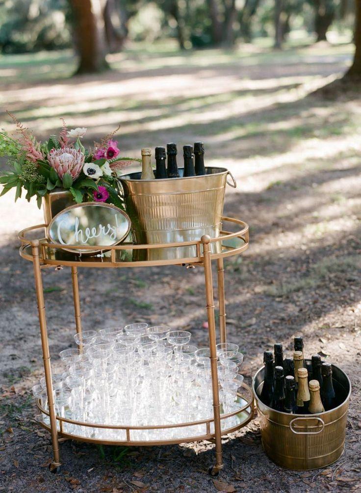 Stylish Gold Champagne Cocktail Table  https://www.thecelebrationsociety.com/weddings/trendy-stylish-gold-pink-wedding-villa-de-suenos-st-simons-island-ga/