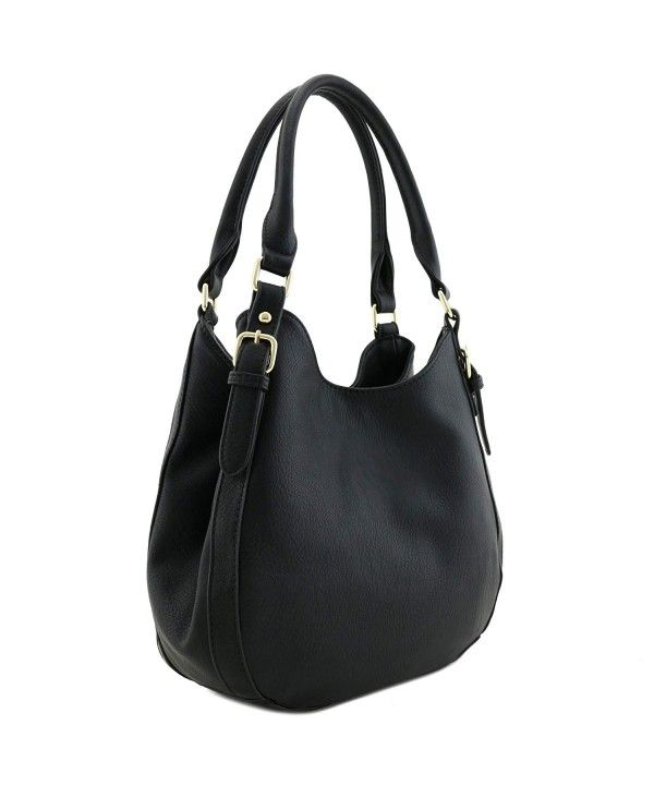 Light-weight 3 Compartment Faux Leather Medium Hobo Bag - Black ... 227fd0173c0a0