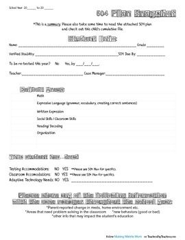 """Keep some of the most important information at hand with this easy to use snapshot page (also called an """"at a glance"""" page). It is much easier to refer to than flipping through some of our thick files! Of course, it goes without saying that this simple document is not intended to replace the 504 plan, or to keep professionals from reading the entire document, or from getting to know their kids on a personal level."""
