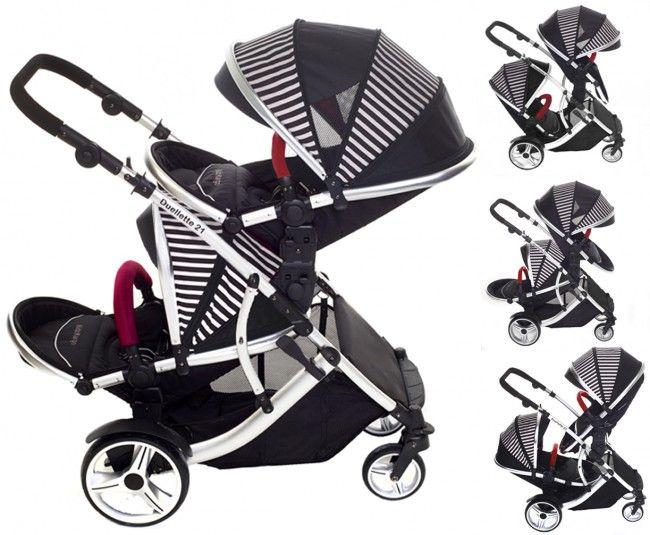 Kids Kargo Duellette 21 BS tandem double twin pushchair travel system pram Oxford Stripe 0640841666371