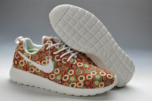 2014 Fabrik Vertrieb Outlet Deutschland Nike Roshe Run Blumen Damenschuhe Rot/Weiß/Grün Blumen