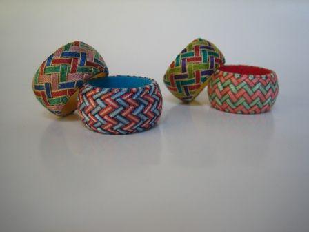Yubinuki thimble rings with a basket-weave patterning