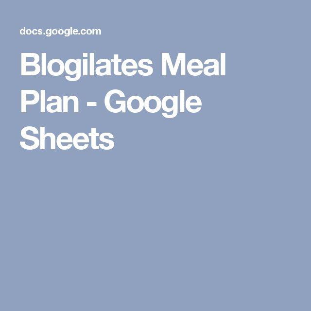 Blogilates Meal Plan - Google Sheets