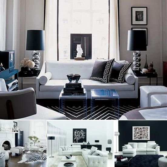 black white living room interior design decorating trends idea - Black White Bedroom Decorating Ideas