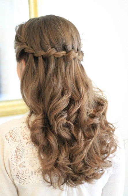 Half up waterfall plait