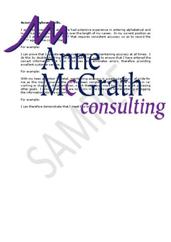 Admin - Accurate keyboard skills – Professional Resumes @ Anne McGrath Consulting