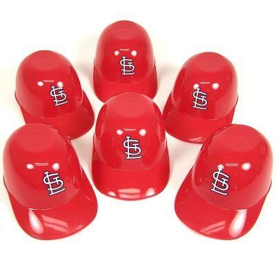 "St. Louis Cardinals Mini-Batting Helmets by St. Louis Cardinals. $8.94. Awesome mini batting helmets are specially designed to hold snacks. Slightly leveled top allows them to rest on any flat surface. Perfect size for peanuts, pretzels, snack mix, candy, or ice cream. Each hat holds 8 oz. Perfect for snacking. Great party favors. Each hat measure 2"" tall, 5"" long, and 3"" wide. Leveled top resists spills when turned upside down for use. Plastic construction is top rack ..."