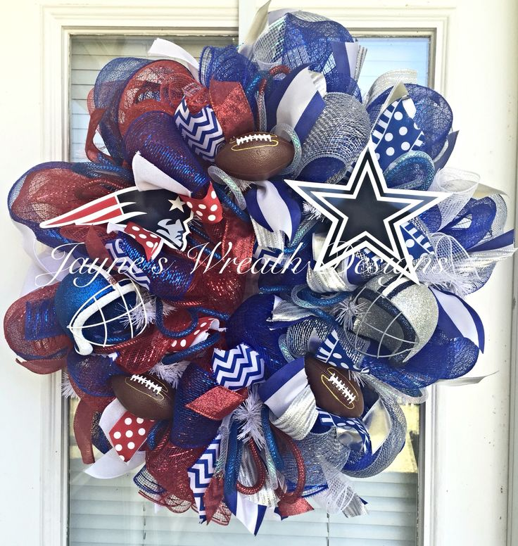 House Divided New England Patriots/ Dallas Cowboy Football Wreath by Jayne's Wreath Designs on fb and Instagram