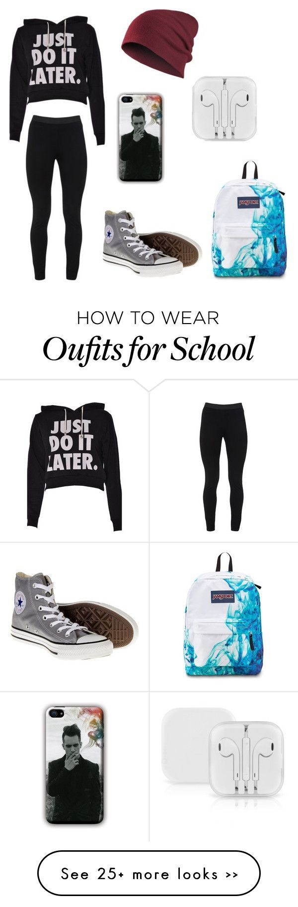 """""""Back to School"""" by devonmichelleb on Polyvore featuring Peace of Cloth, Converse and JanSport"""