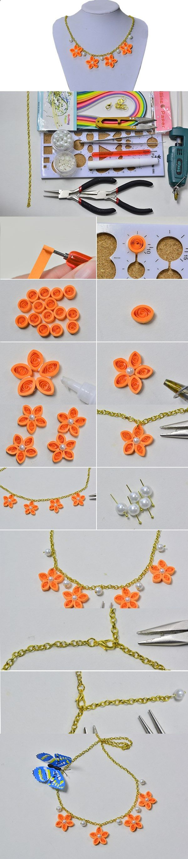 DIY Chain Necklaces with Quilling Flowers for Girls