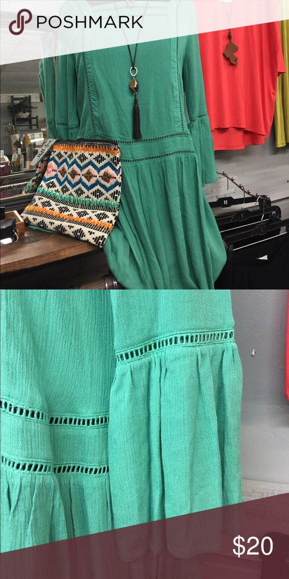 🇺🇸 4th of July SALE NWT  Green Tunic / Dress 👗🛍❤️ NWT Beautiful Green Tunic / Dress. Along tunic or short dress..either way you will love the romantic Boho vibe of this lovely frock! She & Sky Tops Tunics