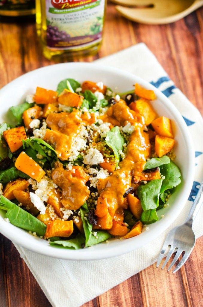 Quinoa & Butternut Squash Salad with Maple Tahini Dressing via @wendypolisi