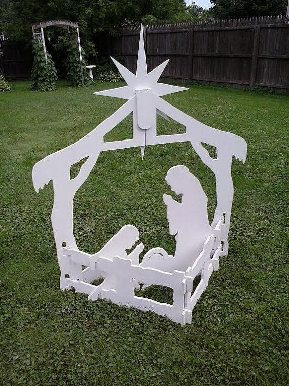 """Christmas Outdoor Nativity Yard Display Set Wood Outdoor Yard Art Lawn Ornament Christmas Outdoor Nativity Scene A beautiful eye catching classic silhouette style outdoor nativity scene set Complements any yard  55' Tall (top of star) x 44"""" wide  I encourage you to watch my Assembly Video on http://youtu.be/9TVW1GRP3Jo to see just how easy it is to set up the nativity set. The nativity set slides together and locks into place (No screws required) that alone is stable enough to ..."""