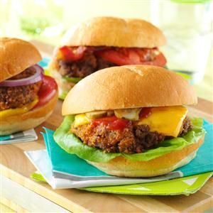 Oven-Baked Burgers Recipe -A crispy coating mix is the secret ingredient that dresses up these burgers you bake in the oven instead of grill or fry. I like to use a sweet and spicy steak sauce for the best flavor. —Mike Goldman, Arden Hills, Minnesota