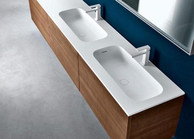 Piano in Cristalplant con doppio lavabo integrato (Round)  //  Top in Cristalplant with double built-it basin (Round) // project by: Michael Schmidt ///   http://www.cristalplant.it  ///   http://www.falper.it