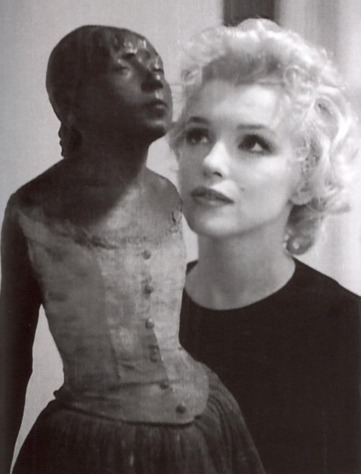 Marilyn and The Little Fourteen-Year-Old Dancer by Edgar Degas. Rare candid photo of Marilyn Monroe, taken in 1956 by director John Huston at the home of producer Bill Goetz.