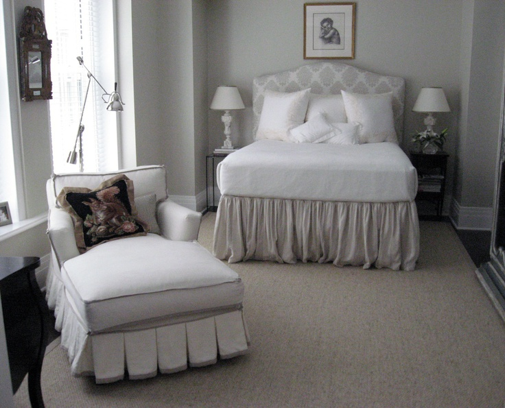 Feminine bedroom featuring a Quarine Sienna chaise with custom