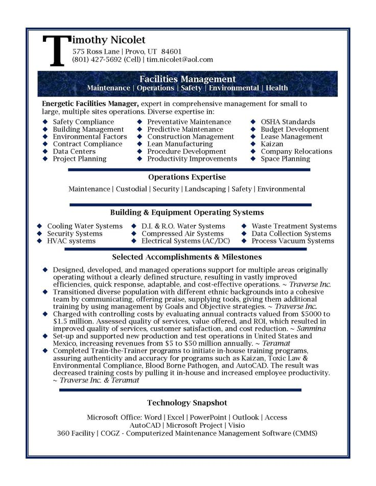 434 best ♛ Resumes ♛ images on Pinterest Resume, Curriculum - facilities operations manager sample resume