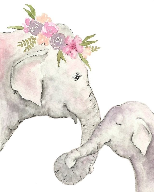 Elephant nursery print - watercolor Elephant- elephant printable - baby elephant