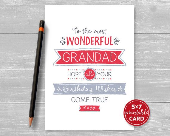 Printable Birthday Card For Grandad  To The by TheLittleRedCherry