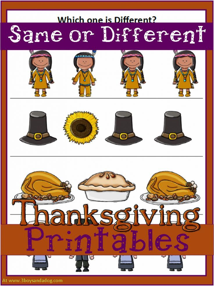Free Thanksgiving Worksheets - same or different?