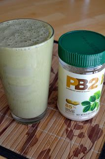 1 tablespoon PB2 1 scoop chocolate protein powder 1/2 frozen banana 1 large handful baby spinach  1/2 cup almond milk 3-4 ice cubes Blend until smooth.