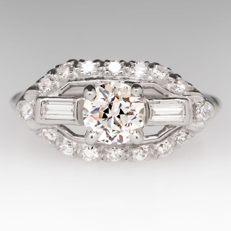 Fancy Antique Engagement Ring s w Old Euro Diamond Platinum