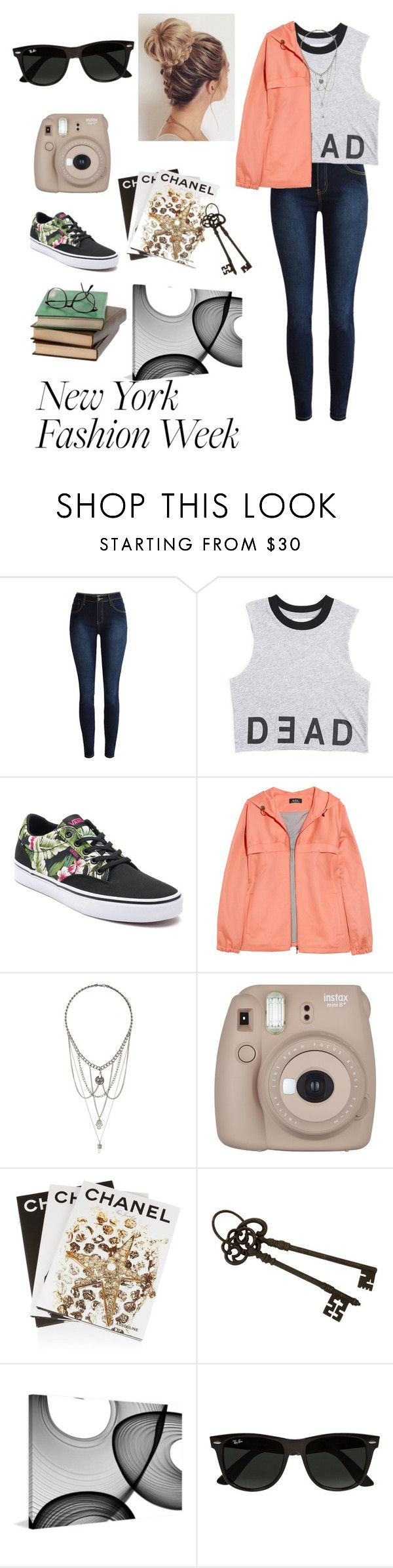 """""""New York Fashion week"""" by kmagana12 ❤ liked on Polyvore featuring Vans, A.P.C., Topshop, Fujifilm, Assouline Publishing, IMAX Corporation, Marmont Hill and Ray-Ban"""