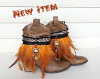 Boheemse Boot Covers Feather Boot manchetten Gypsy door GoToBoutique