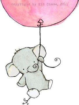 Nursery Art, Flying High Girlie Pink Balloon by Trafalgar's Square - modern - nursery decor - - by Etsy