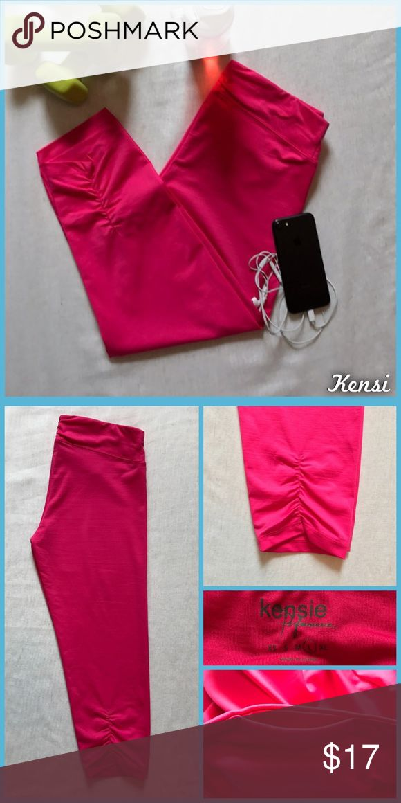 Kensi Performance Workout Crops Size large, Kensi Performance workout capri/crops in like new condition. Key pocket in waistband. Ruched ankles. •I'm open to offers and negotiations on all items!• Kensie Pants Track Pants & Joggers