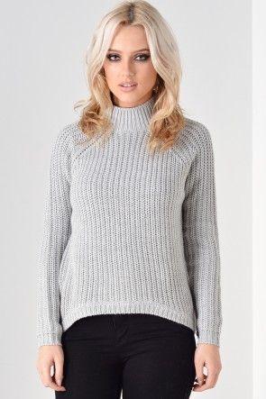 Grainne Highneck Knitted Pullover in Light Grey