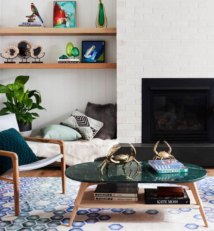 Woodrow Marble Oval Coffee Table - Green