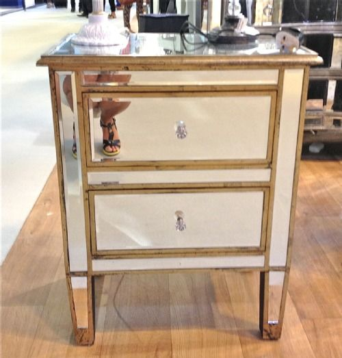 Venetian mirrored silver gilded 2 drawer bedside   R9 9744S   Fabulously Fantastic  Furniture   Pinterest   Venetian  Drawers and Shabby chic furniture. Venetian mirrored silver gilded 2 drawer bedside   R9 9744S