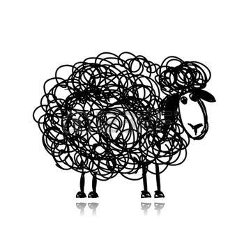 dessin noir et blanc: Drôle mouton noir, croquis pour votre conception Illustration