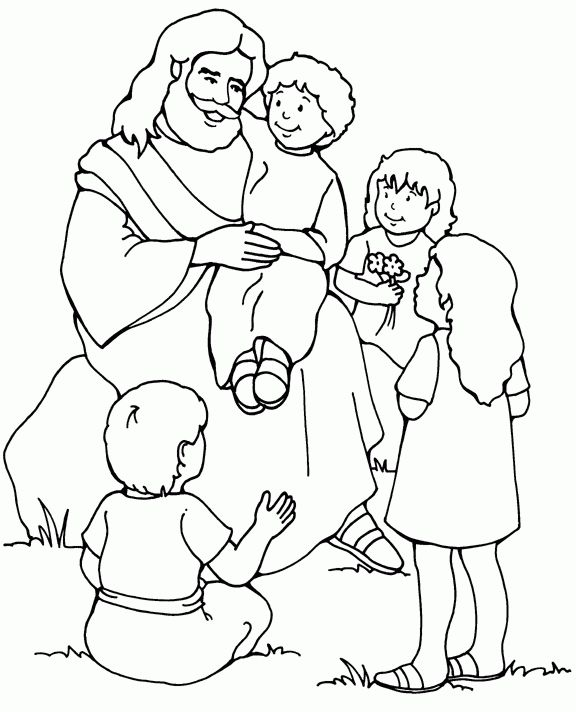 Coloring Pages Of Jesus Pji8 Jesus And The Children Coloring Page