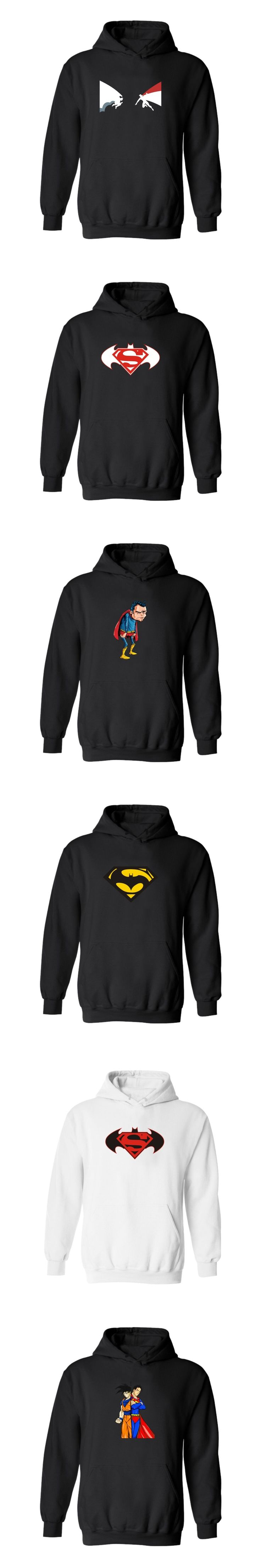 Superman VS Batman Hooded Mens Hoodies And Sweatshirts Cartoon Super Hero 4XL Hoodies Men Hip Hop Winter Fashion Funny Clothes