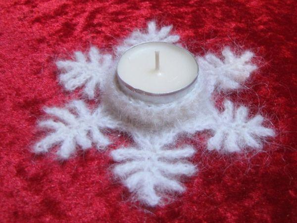 Kostenlose Häkelanleitung Teelichthalter Schneeflöckchen Crochet