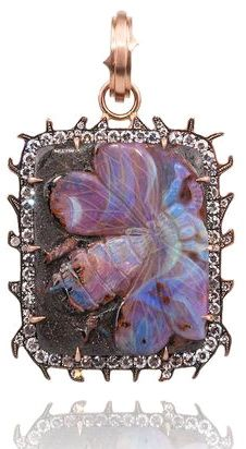 "Sylva & Cie's 1-3/4"" long 14k rose gold hand carved opal bee enhancer set with 1.20ctw single cut diamonds."